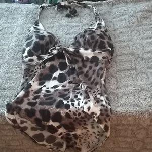 Woman's halter top leopard swimsuit